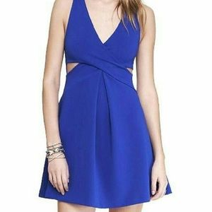 Express Royal Blue Cut Out Fit & Flare Dress